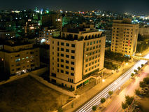 De stad van de nacht van Amman, Jordanië Royalty-vrije Stock Fotografie