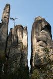 De stad van de rots, Rotsen Aderspach in de Tsjechische Republiek. Royalty-vrije Stock Foto's