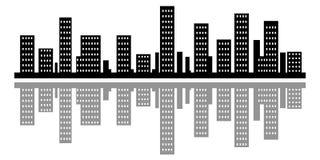 De stad van de silhouetstad Stock Afbeelding