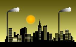 De stad van de smog Stock Foto