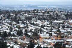De stad van de sneeuw stock foto's