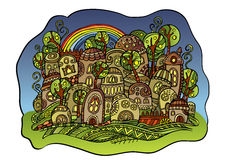 De stad van de sprookjetekening Royalty-vrije Stock Afbeeldingen