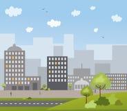 De stad van de zomer stock illustratie