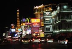 De stad van de zonde bij nacht Stock Foto