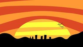De Stad van de zonsondergang Stock Afbeelding