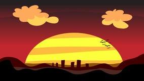 De Stad van de zonsondergang bij Schemer Royalty-vrije Stock Afbeelding