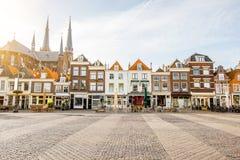 De stad van Delft in Netherland stock afbeelding