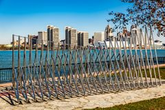 De stad van Detroit, een mening van Windsor, Ontario, Canada royalty-vrije stock fotografie