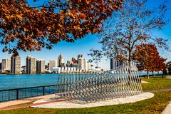 De stad van Detroit, een mening van Windsor, Ontario, Canada stock foto