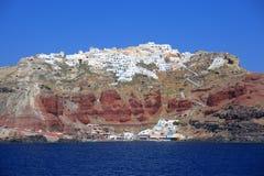 De stad van Fira bij eiland Santorini Stock Afbeelding