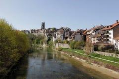 De stad van Fribourg, Zwitserland Stock Foto