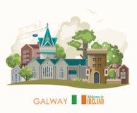 De stad van Galway Vector vlakke het ontwerpkaart van Ierland met oriëntatiepunten, Iers kasteel, groene gebieden stock illustratie