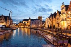 De stad van Gent in België stock foto