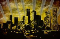 De stad van Grunge Stock Afbeelding