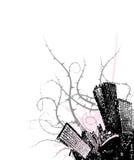 De stad van Grunge in de hoek. Vector Stock Afbeeldingen
