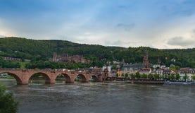 De stad van Heidelberg van over de rivier Royalty-vrije Stock Fotografie