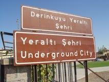 De stad van het Derinkuyuhol in Cappadocia, Turkije wordt gevestigd dat Royalty-vrije Stock Afbeelding