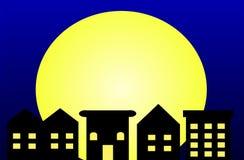 De Stad van het maanlicht Stock Afbeelding