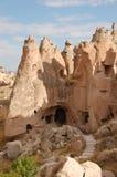 De stad van het Ortahisarhol in Cappadocia - Landschap, Turkije Stock Foto