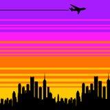 De stad van het vliegtuig Stock Fotografie