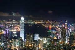 De Stad van Hongkong bij nacht Stock Foto's