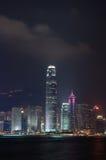 De stad van Hongkong nightview Stock Fotografie