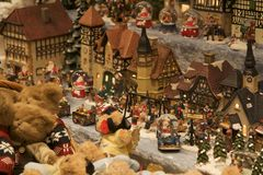 De Stad van Kerstmis Stock Foto