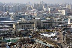 Kiev stad, luchtmening Stock Afbeelding