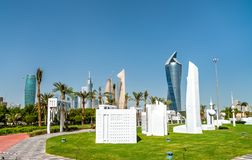De Stad van Koeweit in Miniatuur in Al Shaheed Park stock afbeelding