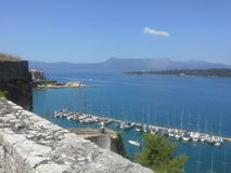 De stad van Korfu stock afbeelding