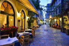 De stad van Korfu bij nacht Stock Foto