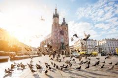 De stad van Krakau in Polen stock afbeelding