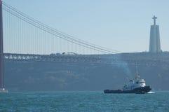 De Stad van Lissabon en Overzees Landschap Portugal Stock Afbeelding