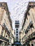 De Stad van Lissabon Oude de Bouw Verbazende Europese Architectuur stock afbeeldingen
