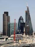 De stad van Londen één van de belangrijke centra van globale mening finance Deze mening omvat Toren 42 Augurk, Willis Building, B Royalty-vrije Stock Fotografie