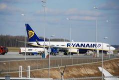 De vlucht van Ryanair van Lublin tot Dublin Royalty-vrije Stock Foto's