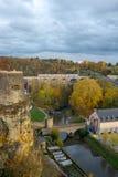 De Stad van Luxemburg buiten de muur stock foto's