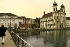 De stad van Luzerne in Zwitserland Stock Afbeelding
