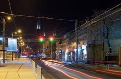 De stad van Lviv van de nachtwinter, de Oekraïne royalty-vrije stock fotografie