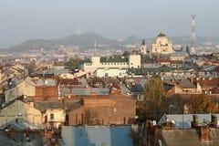 De stad van Lviv van de hoogte van Stock Afbeelding