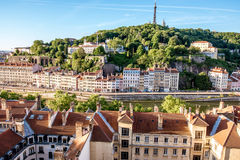 De stad van Lyon in Frankrijk stock foto's