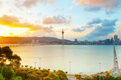 De stad van Macao bij zonsondergang Stock Foto's