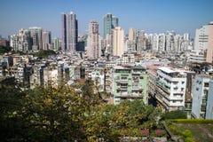 De stad van Macao en zijn horizon Stock Foto's