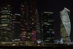 De stad van Moskou bij nacht Royalty-vrije Stock Afbeeldingen