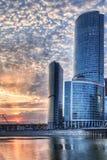 De stad van Moskou bij zonsondergang Stock Afbeelding