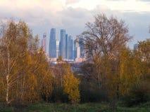 De Stad van Moskou door bomen Stock Afbeeldingen