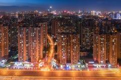 De Stad van nachtwuhan Stock Foto