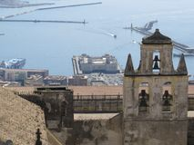 De stad van Napels van hierboven Napoli Italië De vulkaan van de Vesuvius erachter Stock Foto