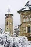 De stad van Neamt van Piatra in de winter stock foto's
