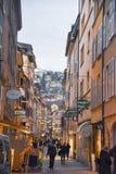 De stad van Neuchâtel in de Winter, Zwitserland, Europa royalty-vrije stock foto's